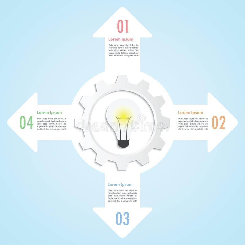 Gear and lightbulb infographic design template stock illustration