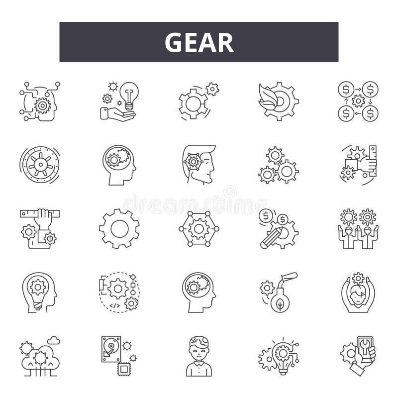 Gear line icons, signs, vector set, outline illustration concept stock illustration