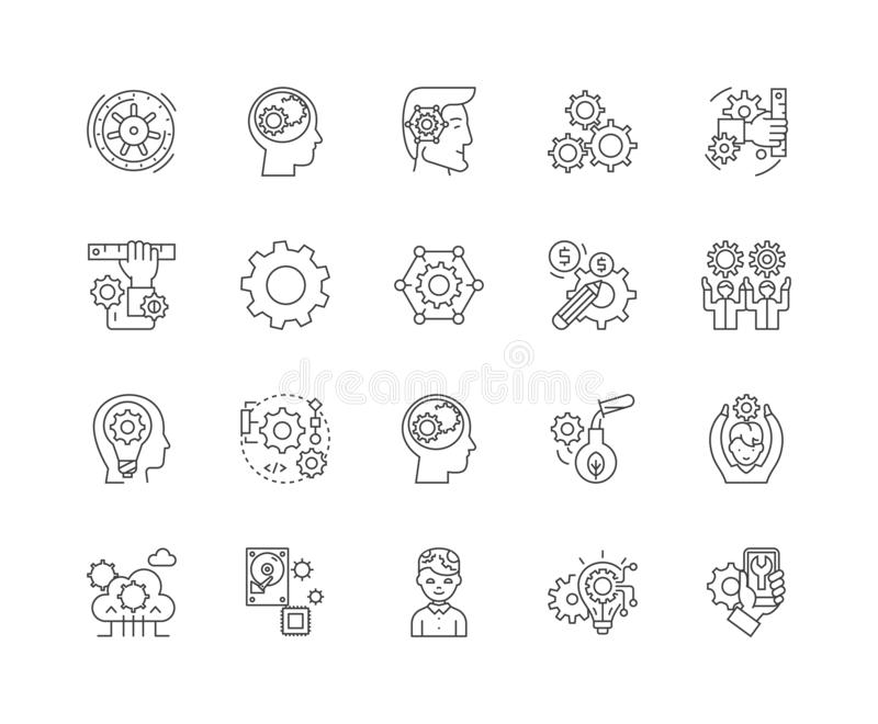 Gear line icons, signs, vector set, outline illustration concept royalty free illustration