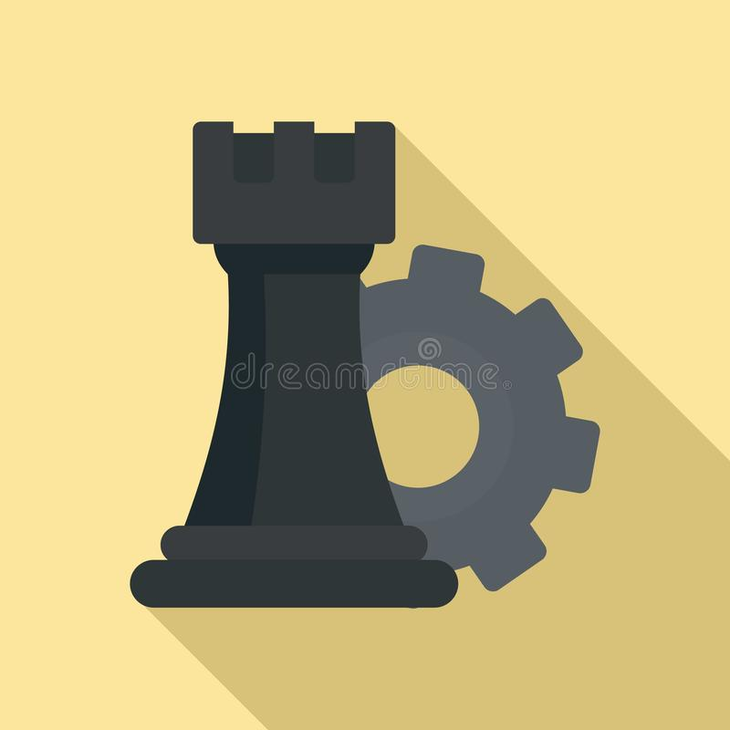 Gear logic icon, flat style royalty free illustration