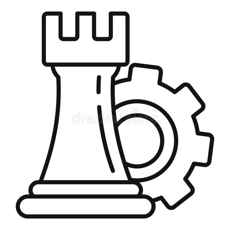 Gear logic icon, outline style royalty free illustration