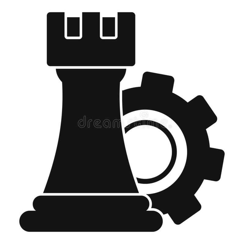 Gear logic icon, simple style royalty free illustration