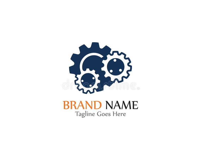 Gear Logo creative Template vector icon illustration design. Symbol, modern, technology, concept, wheel, mechanic, industry, business, element, circle, emblem stock illustration