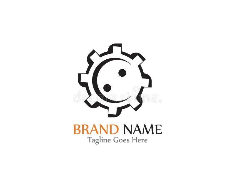 Gear Logo creative Template vector icon illustration design. Symbol, modern, technology, concept, wheel, mechanic, industry, business, element, circle, emblem royalty free illustration