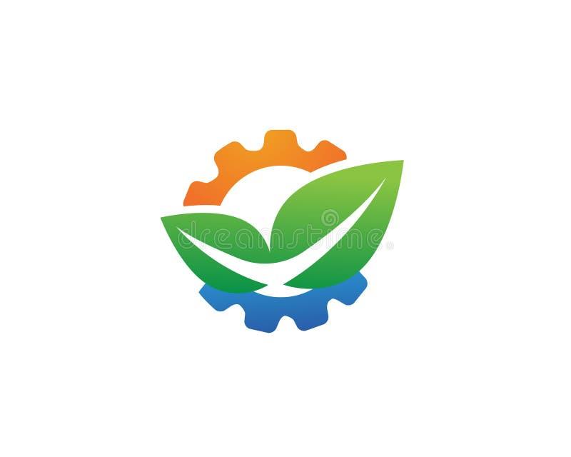 gear logo green Tree leaf ecology nature element stock illustration