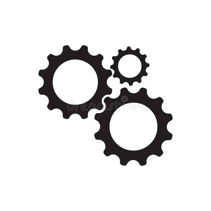 Gear Logo Template vector icon illustration. Design, bold, circle, clean, clear, engine, engineer, factory, industry, iron, machine, manufacture, mechanic stock illustration