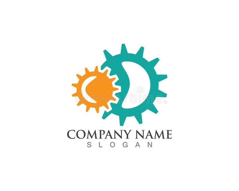 Gear Logo Template vector icon illustration design. Symbol, modern, technology, concept, wheel, mechanic, industry, business, element, circle, emblem stock illustration