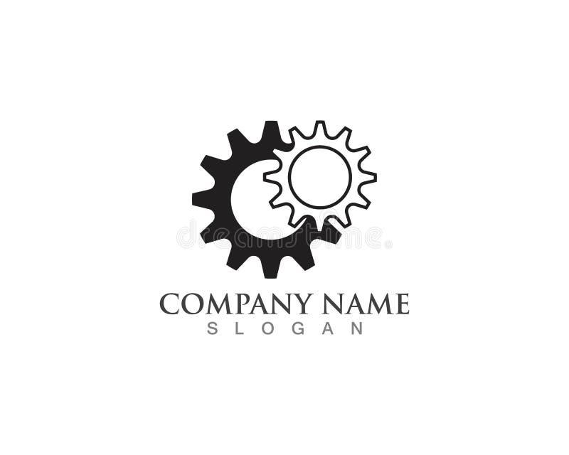 Gear Logo Template vector icon illustration design. Symbol, modern, technology, concept, wheel, mechanic, industry, business, element, circle, emblem royalty free illustration