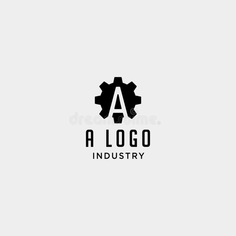 Gear machine logo initial a industry vector icon design isolated. Gear machine logo initial a industry vector icon design, symbol, letter, creative, monogram vector illustration