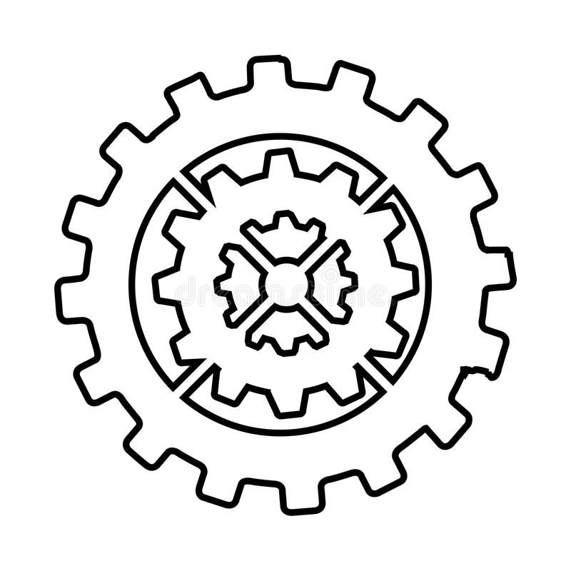 Gear machine style isolated icon design. Illustration graphic royalty free stock image