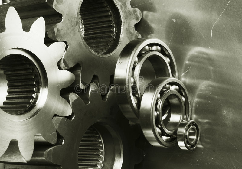 Gear-machinery in bronze royalty free stock photography