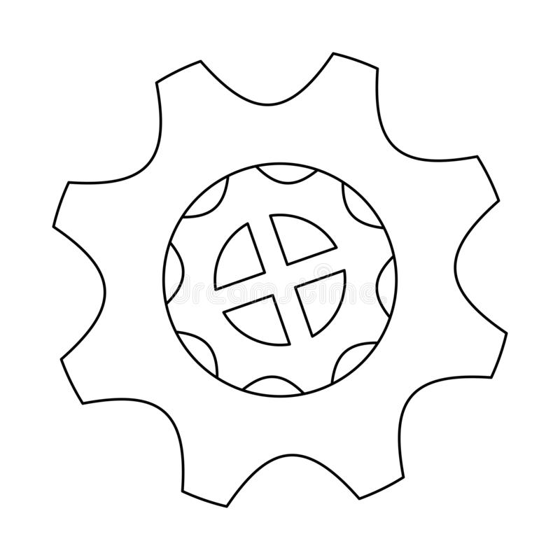 Gear machinery piece black and white. Gear machinery piece symbol vector illustration graphic design stock illustration