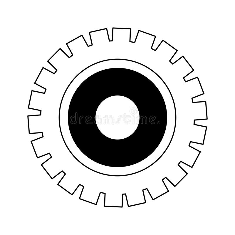 Gear machinery piece in black and white. Gear machinery piece vector illustration graphic design vector illustration