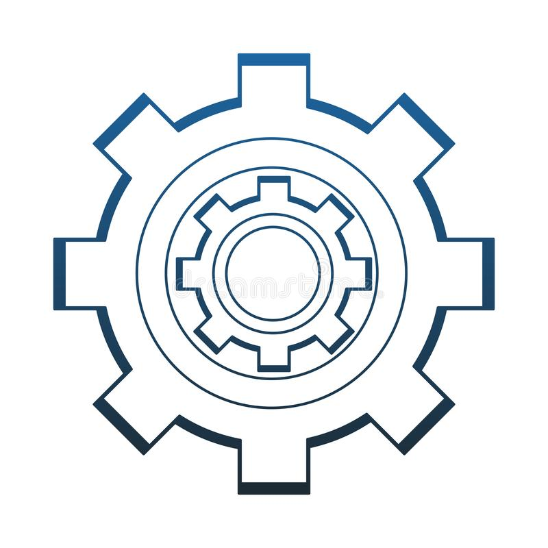Gear machinery piece blue lines royalty free illustration