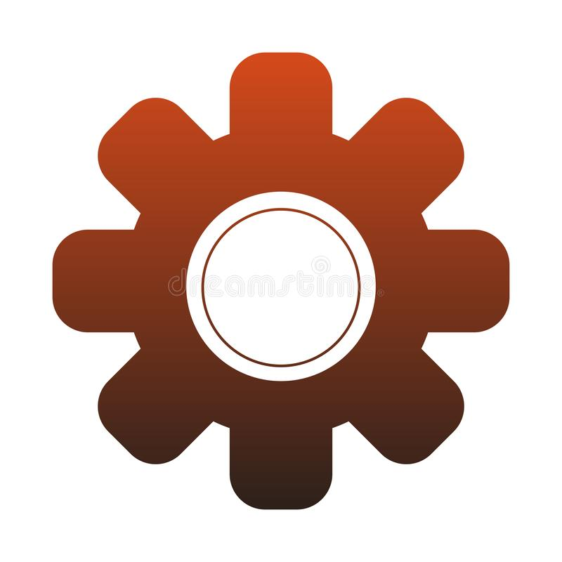 Gear machinery piece red lines vector illustration