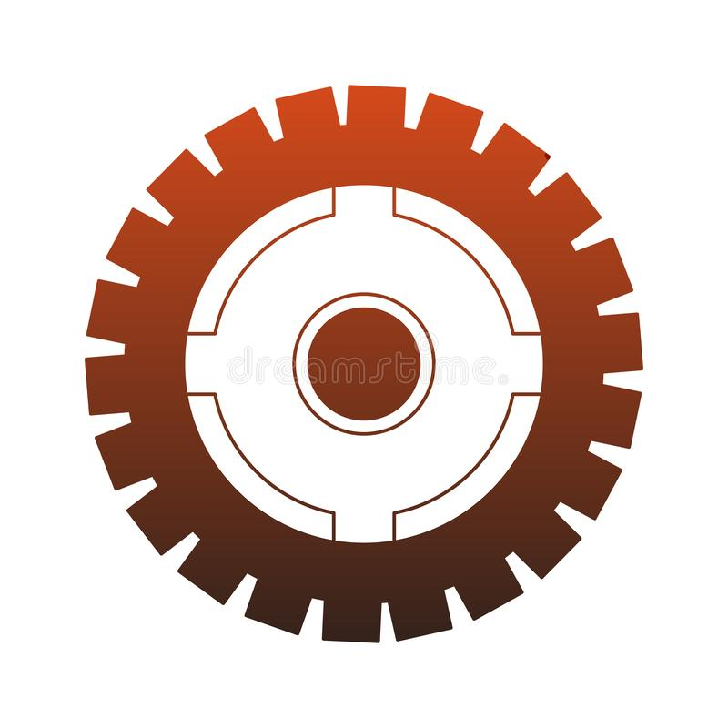Gear machinery piece red lines stock illustration