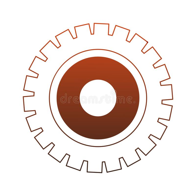 Gear machinery piece red lines. Gear machinery piece vector illustration graphic design stock illustration