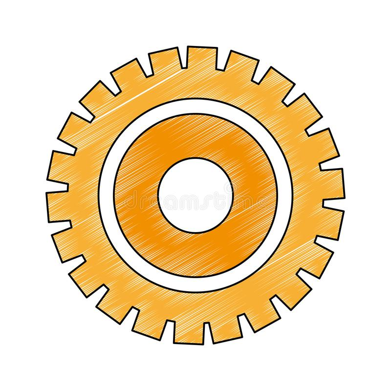 Gear machinery piece scribble. Gear machinery piece vector illustration graphic design vector illustration