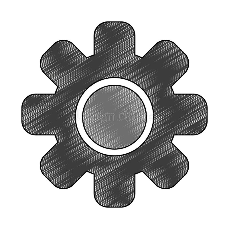 Gear machinery piece scribble. Gear machinery piece vector illustration graphic design stock illustration