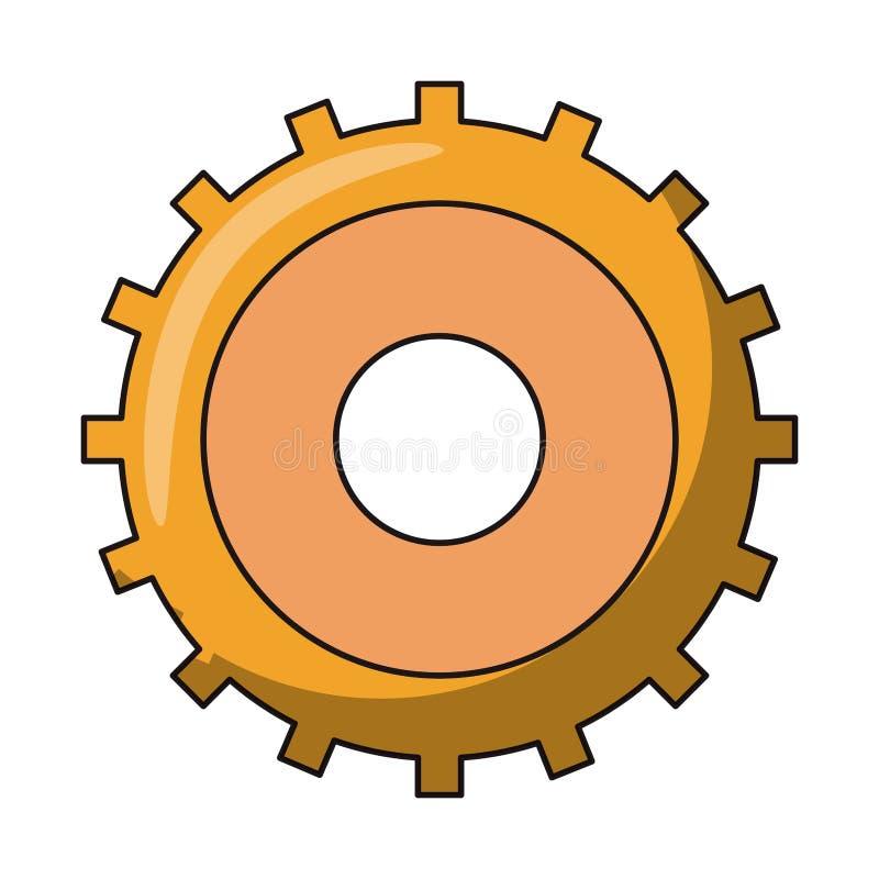Gear machinery piece symbol isolated. Illustration editable image stock illustration