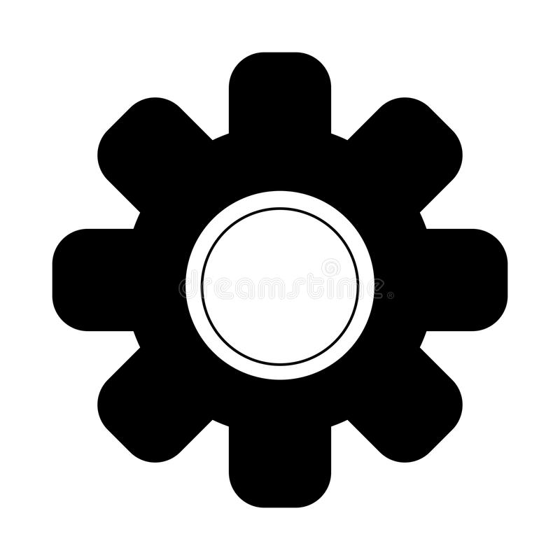 Gear machinery piece in black and white. Gear machinery piece vector illustration graphic design royalty free illustration