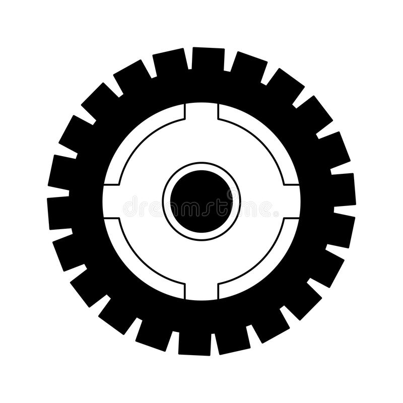Gear machinery piece in black and white. Gear machinery piece vector illustration graphic design stock illustration