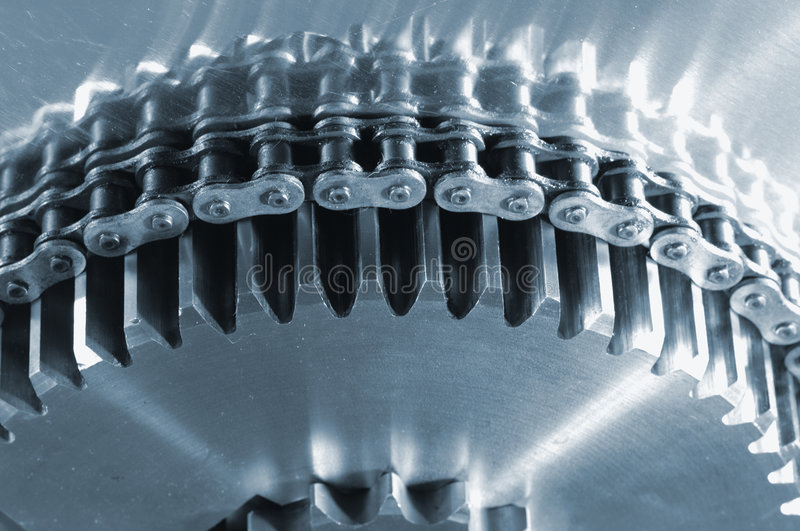Gear-machinery powered by chain royalty free stock image