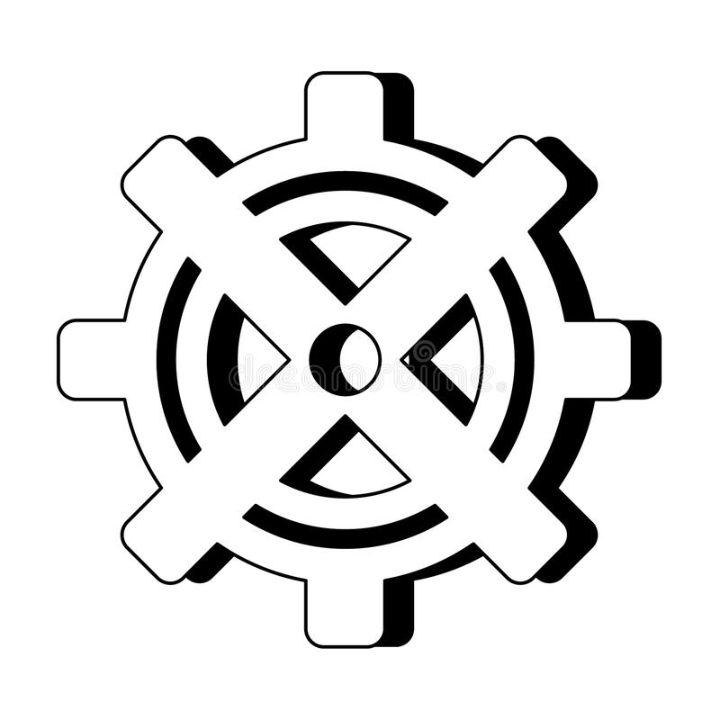Gear machinery symbol isolated cartoon in black and white stock illustration
