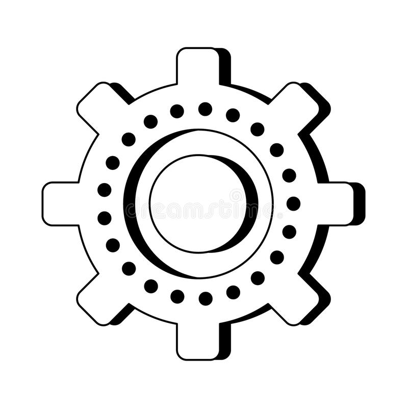 Gear machinery symbol isolated cartoon in black and white vector illustration