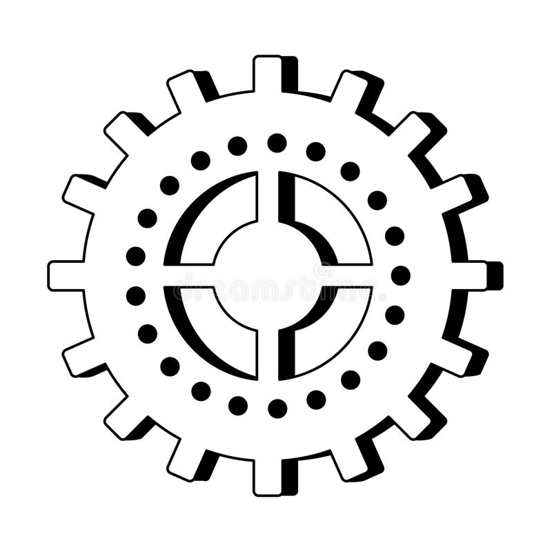 Gear machinery symbol isolated cartoon in black and white royalty free illustration