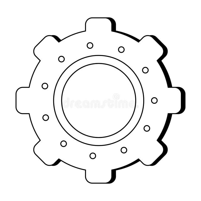 Gear machiney piece symbol black and white. Gear machiney piece symbol vector illustration graphic design royalty free illustration