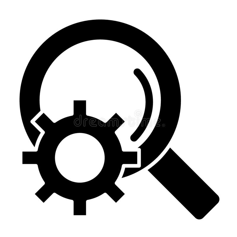 Gear with magnifying glass solid icon. Extended search vector illustration isolated on white. Cog wheel and search glyph. Style design, designed for web and app vector illustration