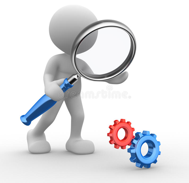 Gear mechanism. 3d people - man, person with a magnifying glass and gear mechanism royalty free illustration