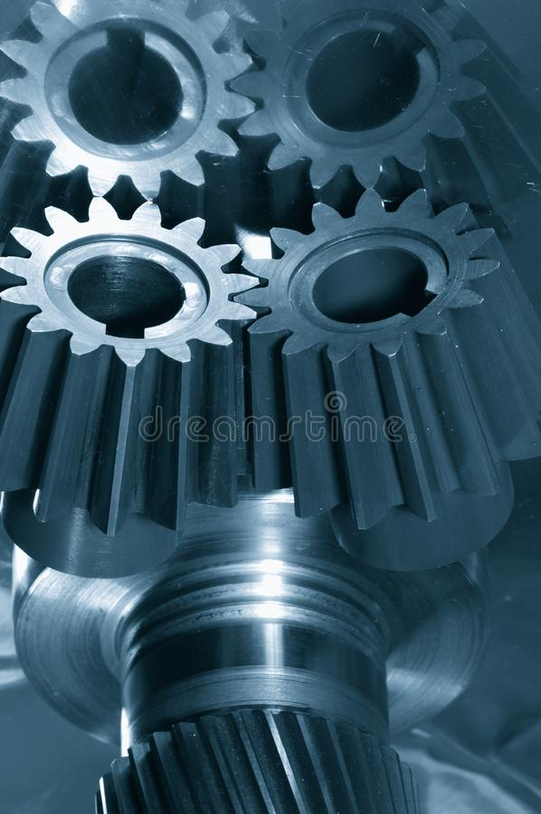 Gear-mechanism in blue royalty free stock photography