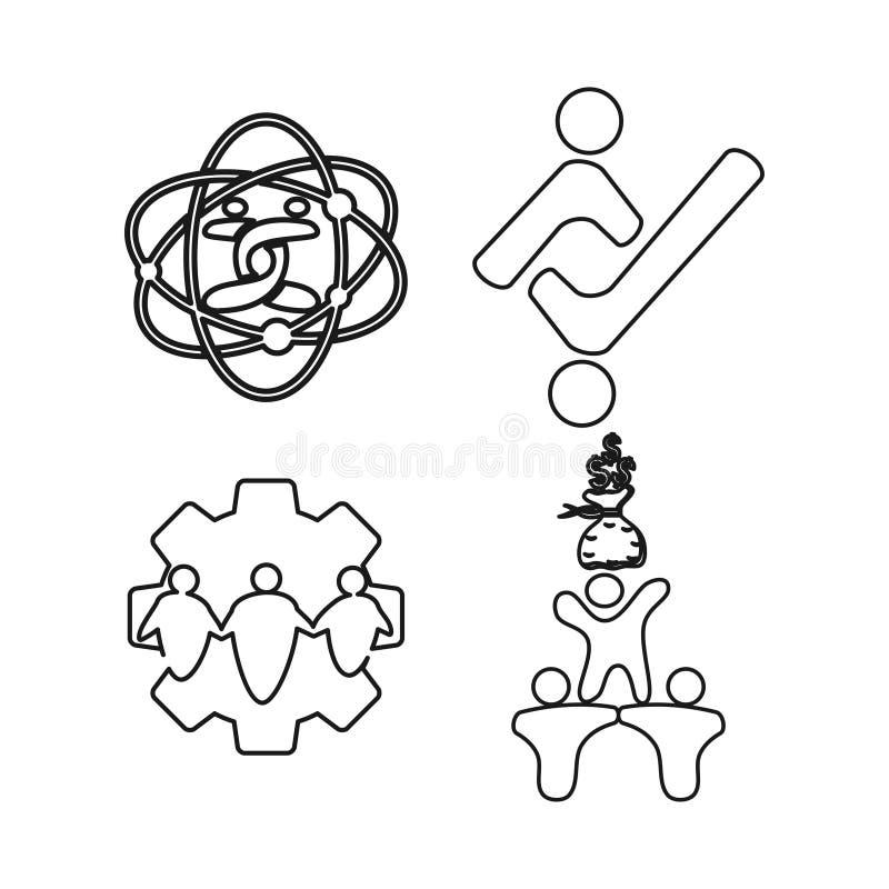 Gear money technology Commitment Teamwork Together Outline Logo. Gear money technology Commitment Teamwork Together Outline stock illustration