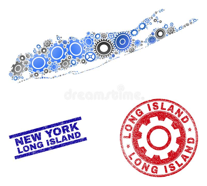 Gear Mosaic Vector Long Island Map and Grunge Stamps stock illustration