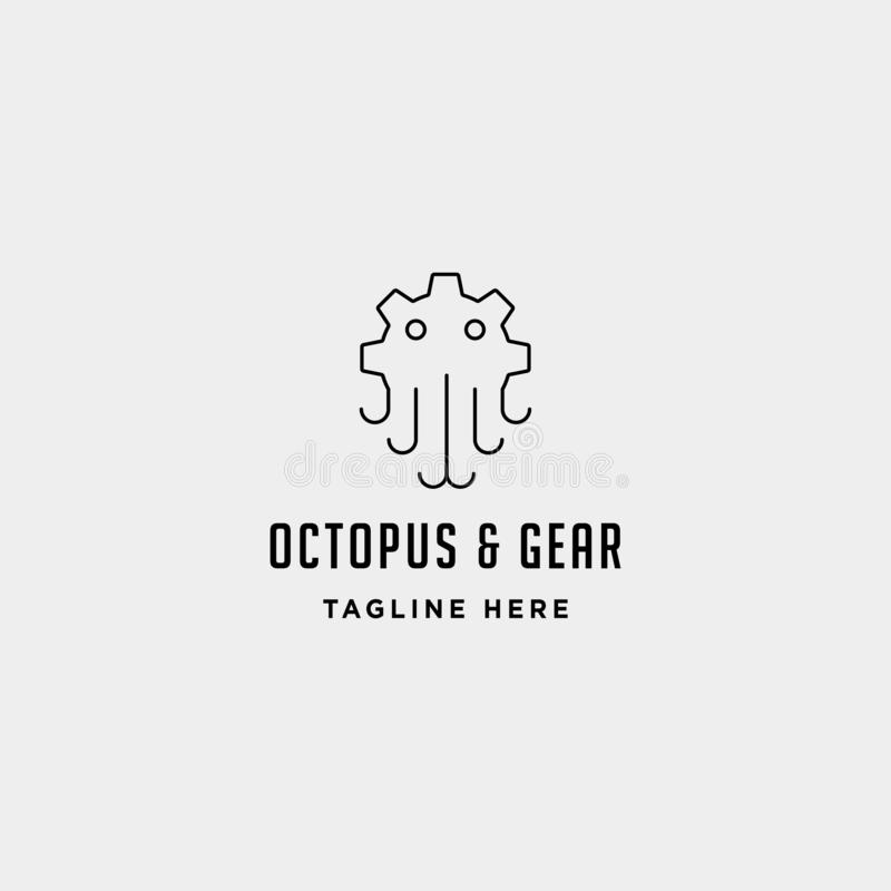 gear octopus logo vector sea industry line icon sign symbol isolated royalty free illustration