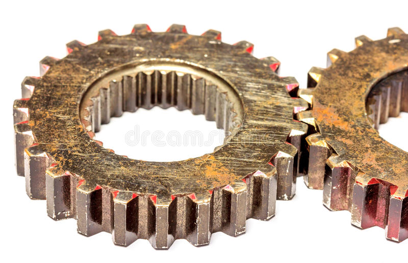 Gear old. Old rusty gear cogs isolated on white background royalty free stock photography