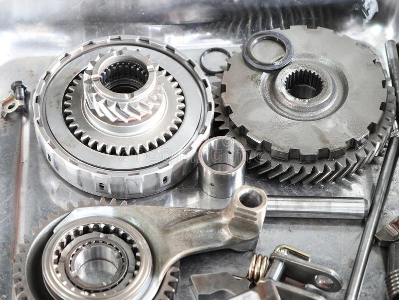The Gear parts from car transmission royalty free stock photo