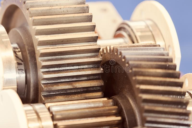 Gear parts detail. Details of gear machines in closeup stock photography