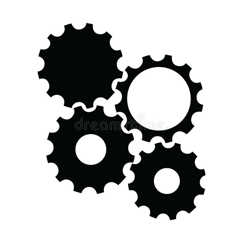 Gear piece. Isolated silhouette of a group of gear pieces, Vector illustration royalty free illustration