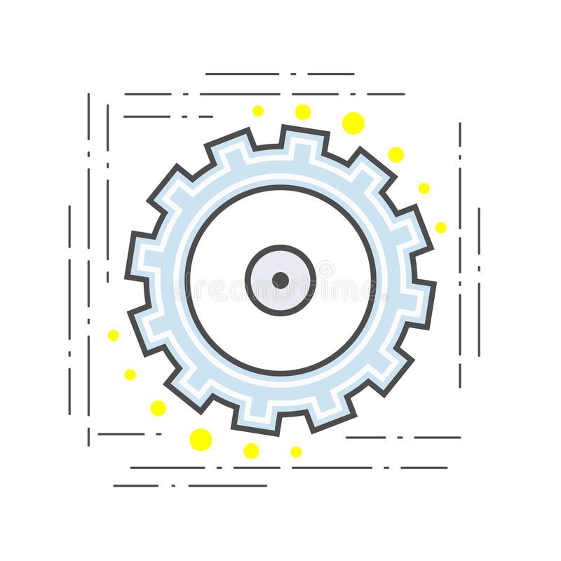 Gear pinion flat line modern icon. Sign stock illustration