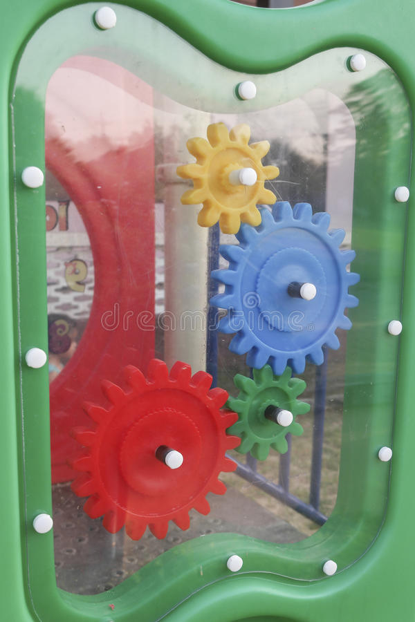 Gear plastic toys. And colorful royalty free stock images