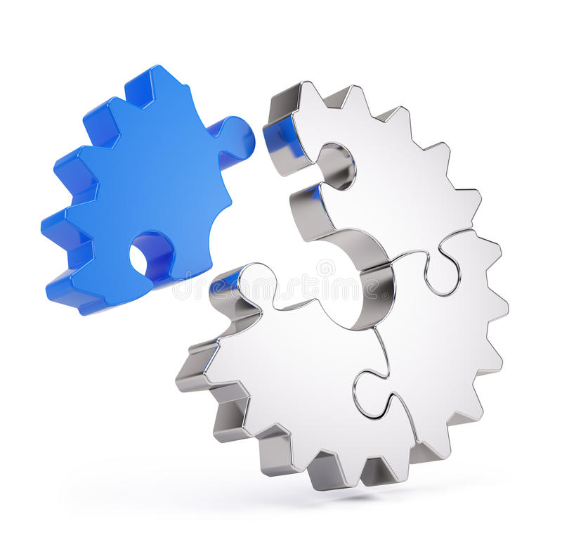 Gear puzzle. Icon - 3d render vector illustration