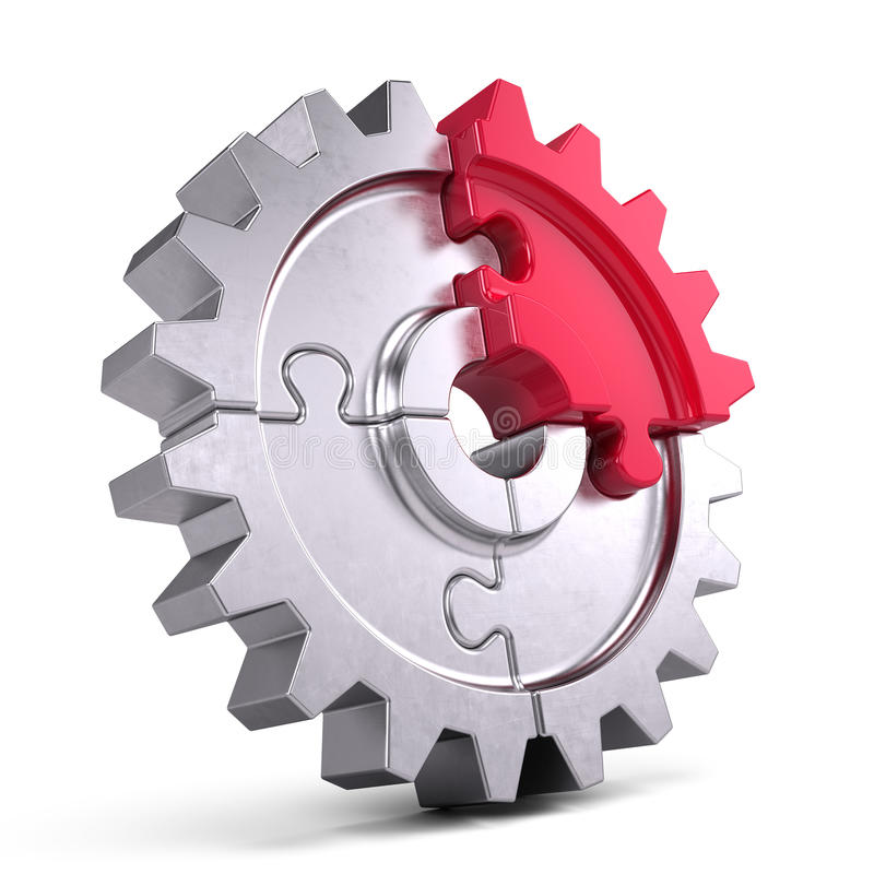 Gear puzzle - business teamwork and partnership concept. 3d render vector illustration