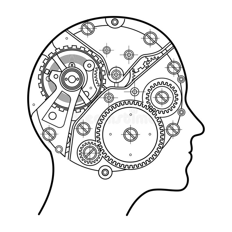 The mechanism of human thinking. It is depicted in the form of a clock mechanism with gears and screws located inside royalty free illustration