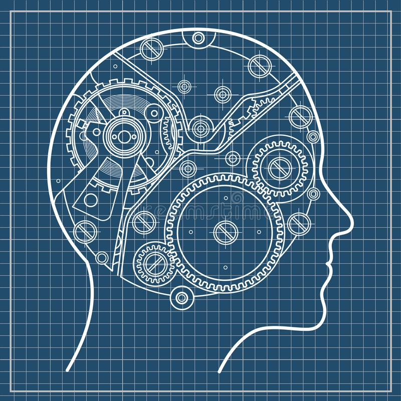The mechanism of human thinking. It is depicted in the form of a clock mechanism with gears and screws located inside vector illustration