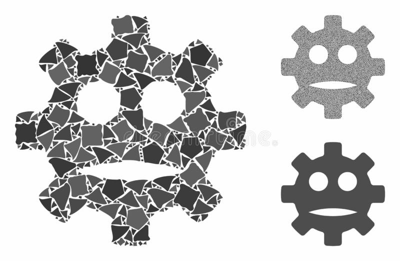 Gear sad smiley Mosaic Icon of Inequal Elements. Gear sad smiley composition of inequal parts in various sizes and color tones, based on gear sad smiley icon vector illustration