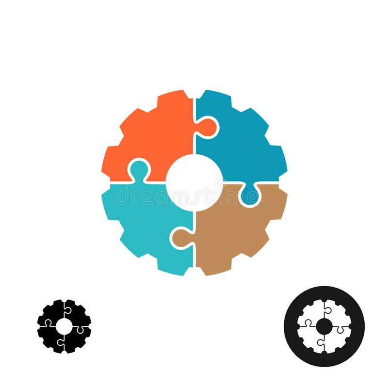 Gear shape puzzle logo or infographic base concept stock illustration