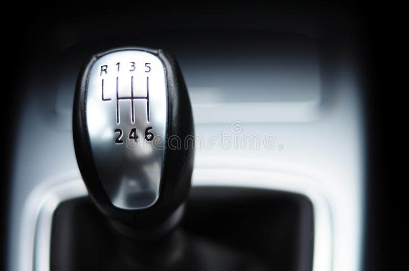 Gear shift. From a modern sports car in metal design royalty free stock images